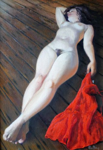 Piran Bishop nude with red dress oil on canvas